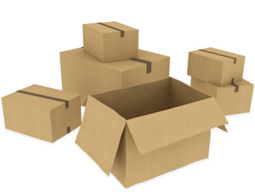 cardboard packing boxes.